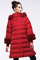 Стильно стеганое пальто с мехом мутона и рукавом с довязом Лоренза