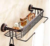 Полочка настенная с вешалкой и крючками в ванную 0458, фото 1
