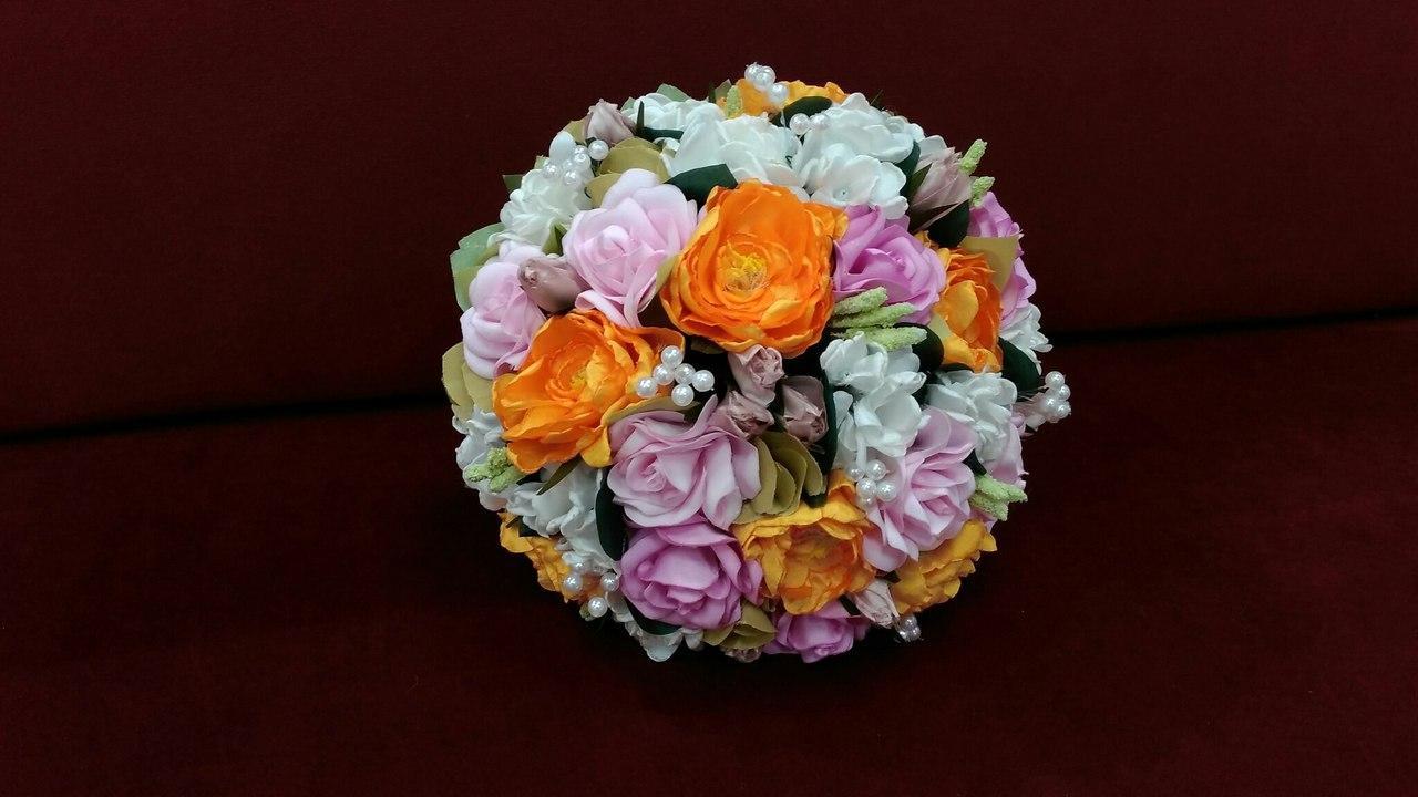 Свадебный букет-дублер оранжевый с розовым и белым