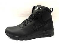 Ботинки мужские Nike кожа натуральная на меху зимние черные Ni0156
