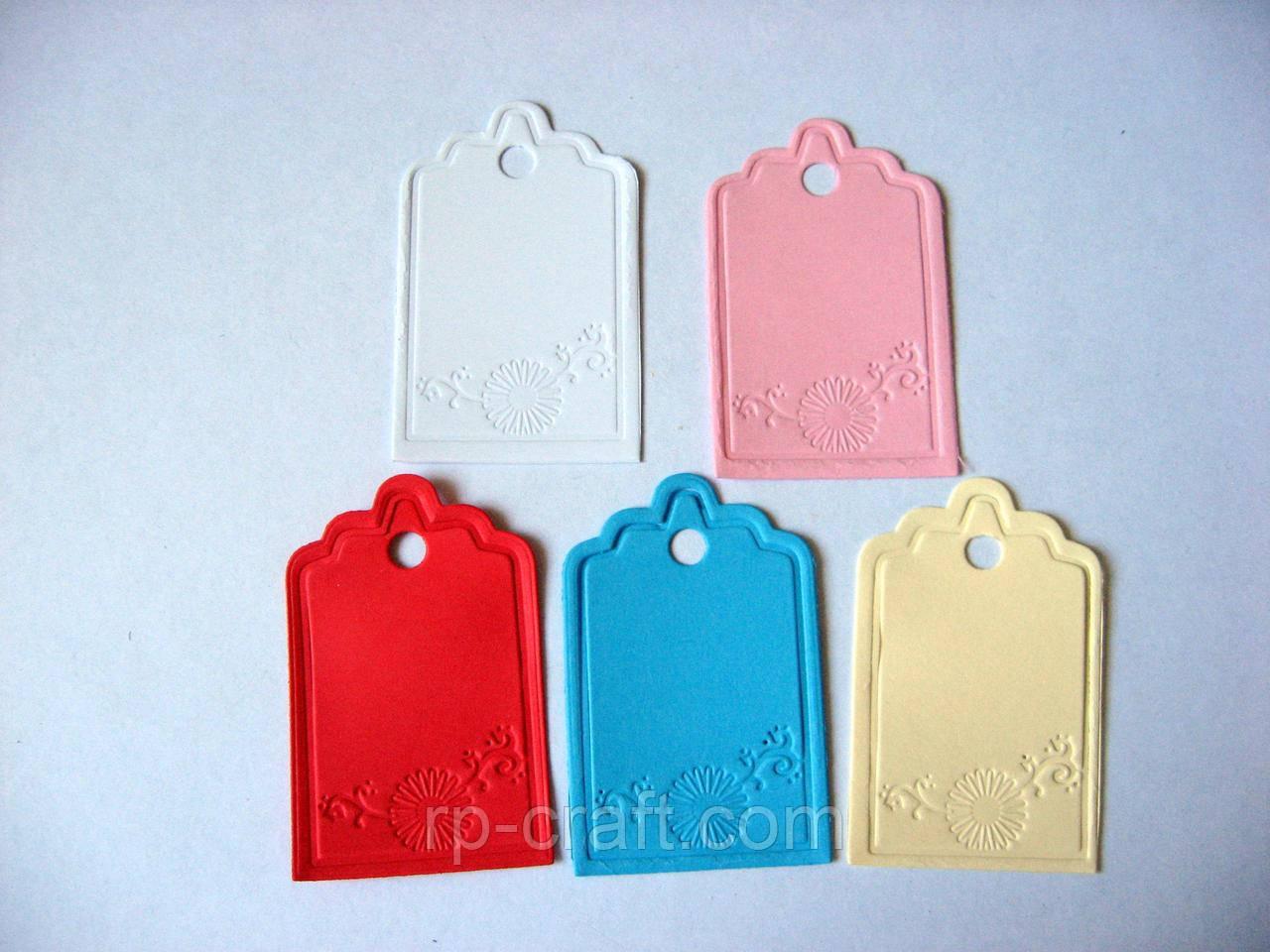 Набор бирок из бумаги или картона. 20 штук, маргаритка, 40х63 мм