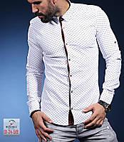 Мужская рубашка в клетку с длинным рукавом на осень 2017 - арт 29