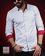 Мужская рубашка в клетку с длинным рукавом на осень 2017 - арт 26