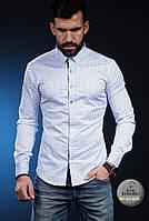 Мужская рубашка в клетку с длинным рукавом на осень 2017 - арт 28