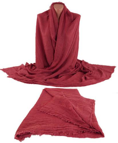 Однотонная мягкая женская шаль-парео, хлопок, 190х125 см, Trаum 2498-48, цвет бордовый.