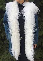 Джинсовая удлиненная женская куртка с мехом ламы
