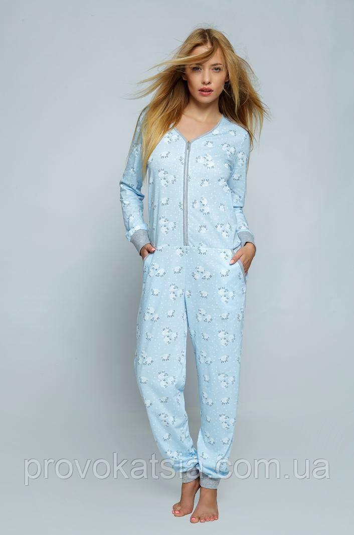 Женская пижама - комбинезон с длинными рукавами Kombinezon Blue Sheep Sensis
