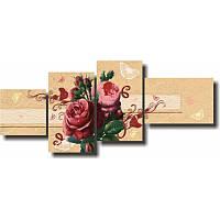 Модульная картина с розами БУКЕТ РОЗ из 4 фрагментов