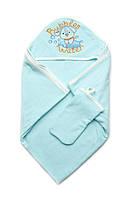 Качественное махровое полотенце 95х95 см с рукавичкой Bubbles Water бирюзовое