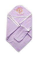 Качественное махровое полотенце 95х95 см с рукавичкой Bubbles Water сиреневое