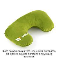 Подушка подголовник зеленый флок с лого WOG