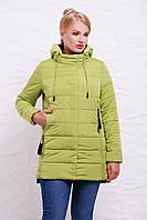 Стильная женская демисезонная прямая куртка с капюшоном светло-зеленая,большие размеры Куртка 17-11