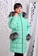 Куртка зимняя для девочек Рукавичка. Минт. Размеры 122-146