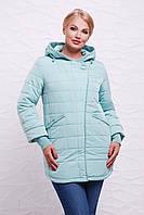 Женская удлиненная осеняя куртка с капюшоном цвет мята, отделка бахрома,большие размеры Куртка 17-18