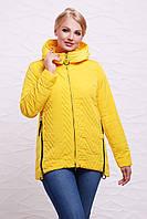 Женская демисезонная стеганая куртка на молнии с капюшоном желтая,большие размеры Куртка 17-57