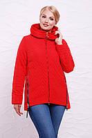 Женская демисезонная стеганая куртка на молнии с капюшоном красная,большие размеры Куртка 17-57