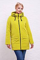 Удлиненная женская осеняя желтая куртка на молнии с капюшоном, большие размеры Куртка 17-776
