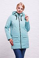 Удлиненная женская осеняя мятная куртка на молнии с капюшоном, большие размеры Куртка 17-776