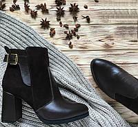 Женские ботинки на каблуке, натуральная кожа + замш. Возможен отшив в других цветах
