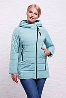 Женская демисезонная куртка с молнией наискосок с капюшоном мятная, большие размеры  Куртка 17-788