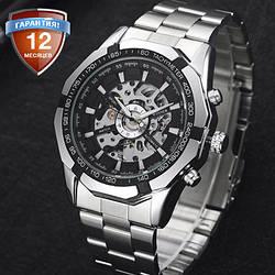 Механические часы с автоподзаводом Winner (black) - гарантия 12 месяцев