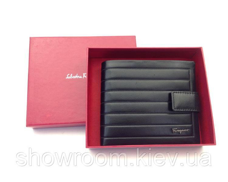 Мужское портмоне в стиле Salvatore Ferragamo (F-7104) black leather