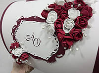 """Свадебная коробка для денег """"Бордовые цветы"""""""