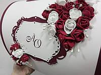 """Свадебная коробка для денег """"Бордовые цветы"""", фото 1"""