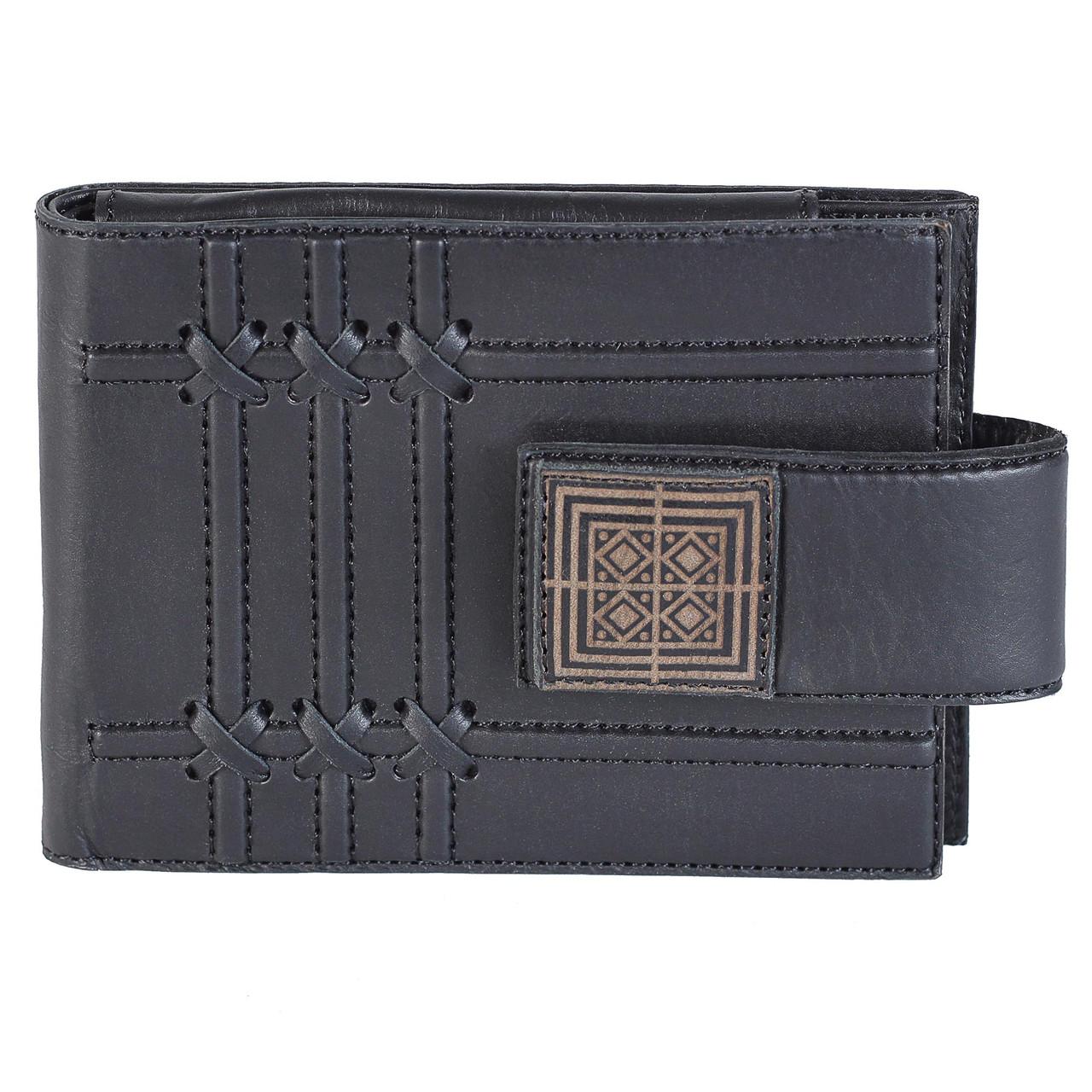"""Кошелек мужской кожаный на магнитном клапане с карманом для монет """"Де Стейл"""" (Макей). Цвет черный"""