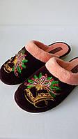 Тапочки женские  Белста махра вышивка колокольчики (36-40р)
