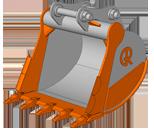 HD (Heavy Duty) – усиленный ковш.  Назначение ковша: применяется для работы с горными породами 1-ой, 2-ой и 3-ей категорий, плотностью до 2500 кг/м3. Виды разрабатываемых горных пород: растительный грунт, песок, глина, суглинок, гравий, щебень, известняк, щебень, сланец, меловые породы и т.д..  Особенности конструкции ковша:   в конструкции ковша применяются более износостойкие виды сталей, чем на универсальном ковше;  усиленна режущая кромка и верхняя часть ковша;  установлены боковые двойные ножи и коронки с повышенной прочностью.