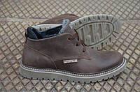 Мужские кожаные  зимние ботинки со шнурком Caterpillar