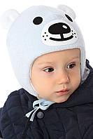 Теплая вязанная шапочка с ушками для мальчика лапули Умка, от MARIKA Польша