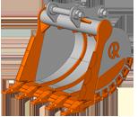 EXD (Extra Heavy Duty) — сверхусиленный ковш.  Назначение ковша: применяется для работы с горными породами 1 – 4 категорий плотностью до 3000 кг/м3, отличающимися наличием каменистых включений и высоким абразивным воздействием на ковш.  Виды разрабатываемых горных пород: базальт, гранит, песчаник и т.п.  Особенности конструкции ковша:   на ковше устанавливаются заострённые коронки облегчающие проникновение в уплотнённый грунт;  режущая кромка и места подверженные истиранию дополнительно усиленны защитным пластинами;  увеличена толщина всех элементов ковша.