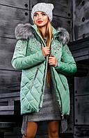Зимняя куртка-пуховик оливкового цвета