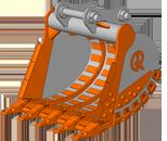 Rock bucket – скальный ковш.  Назначение ковша: применяется для работы с взрыхлёнными скальными горными породами плотностью около 3000 кг/м3, а также с грунтами в зоне вечной мерзлоты.  Виды разрабатываемых горных пород: известняк, гранит, песчаник, базальт, диобаз и т.д.  Особенности конструкции ковша:   в конструкции ковша применяются высокопрочные, износостойкие виды сталей (НВ400, НВ500 и т.д.);  увеличена толщина всех несущих и режущих элементов;  установлена дополнительная защита боковых стенок и днища;  применена абразивноустойчивая угловая защита;  установлены особопрочные коронки и бокорезы.