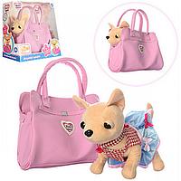 Интерактивная мягкая игрушка Собачка в Сумочке Розовая Фантазия M 3219, собачка с сумочкой 3219 Chi Chi Love