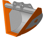 PB (Profile Bucket) — профильный ковш (V-образный ковш).  Назначение ковша: формирование боковых кромок откосов, рытьё профилированных каналов и траншей.  Виды разрабатываемых горных пород: грунты 1-3 категорий, такие как грунтово-растительный слой, торф, супесь, песок, суглинок, гравий, уплотнённая глина.  Особенности конструкции ковша:   V-образная форма ковша с углом наклона боковых стенок равным 45°.