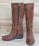 Жіночі замшеві чоботи на невисокій танкетці. Можливий відшиваючи в шкірі та замші інших кольорів. Розмір 36-42, фото 2