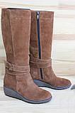 Жіночі замшеві чоботи на невисокій танкетці. Можливий відшиваючи в шкірі та замші інших кольорів. Розмір 36-42, фото 3