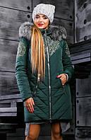 Зимняя куртка-пуховик темно зеленого цвета