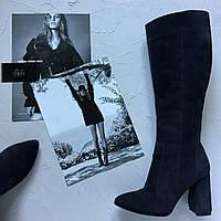 Женские замшевые сапоги на каблуке. Возможен отшив в других цветах кожи и замша