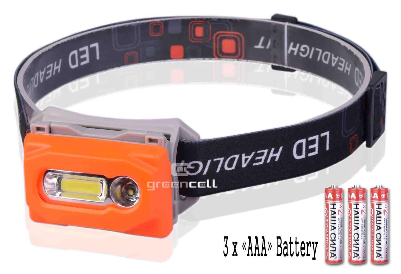 Фонарь налобный 2211 на батарейках 3 х ААА