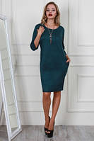 Строгое Молодежное женское платье с украшением (44-48), доставка по Украине
