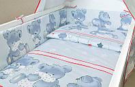 Защита бампер в детскую кроватку  из двух частей Мишка с подушкой серый