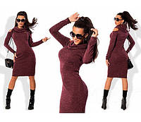"Тёплое платье ""Мелани"", от 44 до 50, бордовый"