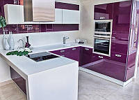 Фиолетовая угловая кухня