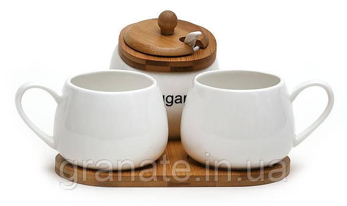 Чайный набор: сахарница 300мл с ложкой и две чашки 250мл на бамбуковой подставке