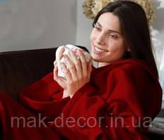 Плед с рукавами бордовый усиленный флис отличное качество