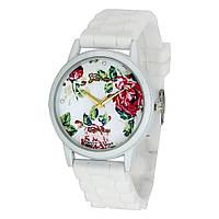 Часы женские Geneva Flowers на силиконовом ремешке (White)